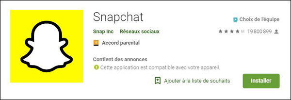 mise a jour snapchat android