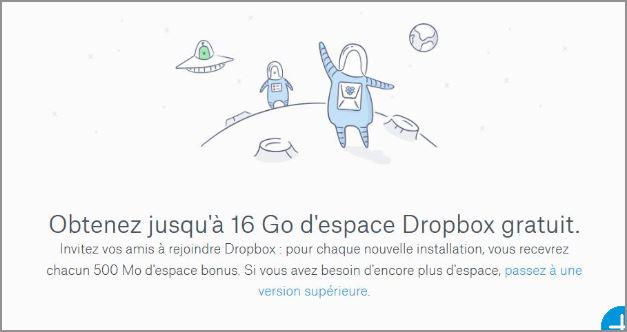 Espace Dropbox  gratuit